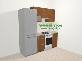 Прямая кухня из рамочного МДФ 5,0 м², 200 см, Орех: верхние модули 72 см, холодильник, корзина-бутылочница, отдельно стоящая плита