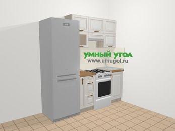 Прямая кухня МДФ патина в классическом стиле 5,0 м², 200 см, Лиственница белая: верхние модули 72 см, холодильник, корзина-бутылочница, отдельно стоящая плита