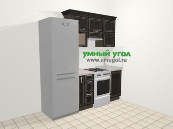Прямая кухня МДФ патина в классическом стиле 5,0 м², 200 см, Венге: верхние модули 72 см, холодильник, корзина-бутылочница, отдельно стоящая плита