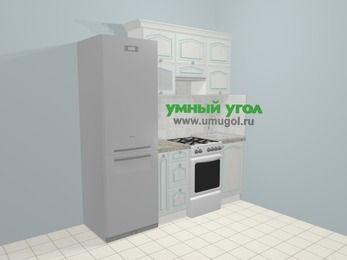 Прямая кухня МДФ патина в стиле прованс 5,0 м², 200 см, Лиственница белая: верхние модули 72 см, холодильник, корзина-бутылочница, отдельно стоящая плита
