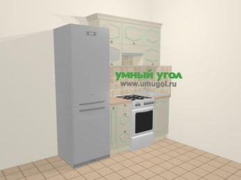 Прямая кухня МДФ патина в стиле прованс 5,0 м², 200 см, Керамик: верхние модули 72 см, холодильник, корзина-бутылочница, отдельно стоящая плита