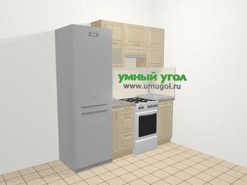 Прямая кухня из массива дерева в классическом стиле 5,0 м², 200 см, Светло-коричневые оттенки: верхние модули 72 см, холодильник, корзина-бутылочница, отдельно стоящая плита