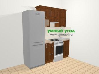 Прямая кухня из массива дерева в классическом стиле 5,0 м², 200 см, Темно-коричневые оттенки: верхние модули 72 см, холодильник, корзина-бутылочница, отдельно стоящая плита