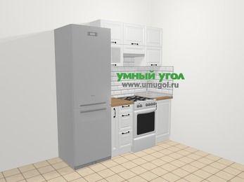 Прямая кухня из массива дерева в скандинавском стиле 5,0 м², 200 см, Белые оттенки: верхние модули 72 см, холодильник, корзина-бутылочница, отдельно стоящая плита