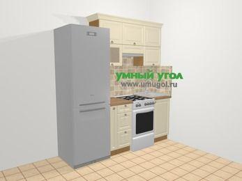 Прямая кухня из массива дерева в стиле кантри 5,0 м², 200 см, Бежевые оттенки: верхние модули 72 см, холодильник, корзина-бутылочница, отдельно стоящая плита