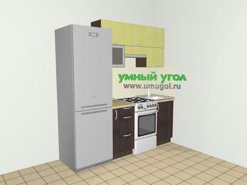 Кухни из пластика 5,0 м², 2000 мм, Желтый Галлион глянец / Дерево Мокка: верхние модули 720 мм, холодильник, корзина-бутылочница, отдельно стоящая плита