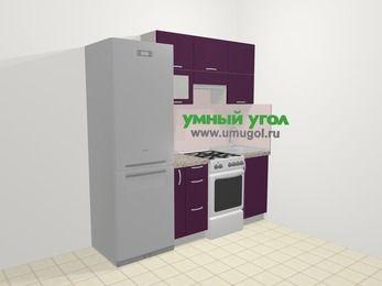 Прямая кухня МДФ глянец в современном стиле 5,0 м², 200 см, Баклажан: верхние модули 72 см, холодильник, корзина-бутылочница, отдельно стоящая плита