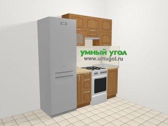 Прямая кухня МДФ патина в классическом стиле 5,0 м², 200 см, Ольха: верхние модули 72 см, холодильник, корзина-бутылочница, отдельно стоящая плита