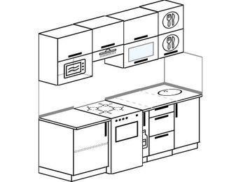 Планировка прямой кухни 5,0 м², 2000 мм: верхние модули 720 мм, отдельно стоящая плита, корзина-бутылочница, верхний витринный модуль под свч