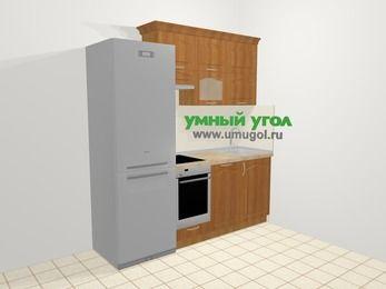 Прямая кухня МДФ матовый в классическом стиле 5,0 м², 200 см, Вишня, верхние модули 72 см, посудомоечная машина, встроенный духовой шкаф, холодильник