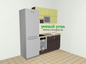 Кухни из пластика 5,0 м², 2000 мм, Желтый Галлион глянец / Дерево Мокка, верхние модули 720 мм, посудомоечная машина, встроенный духовой шкаф, холодильник