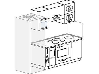 Прямая кухня 5,0 м² (2,0 м), верхние модули 72 см, встроенный духовой шкаф, холодильник