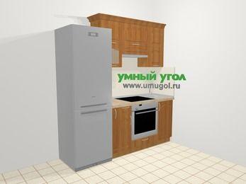 Прямая кухня МДФ матовый в классическом стиле 5,0 м², 200 см, Вишня, верхние модули 72 см, встроенный духовой шкаф, холодильник