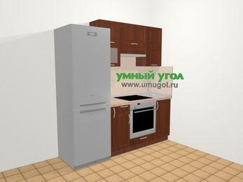 Прямая кухня МДФ матовый в классическом стиле 5,0 м², 200 см, Вишня темная, верхние модули 72 см, встроенный духовой шкаф, холодильник