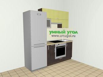 Кухни из пластика 5,0 м², 2000 мм, Желтый Галлион глянец / Дерево Мокка, верхние модули 720 мм, встроенный духовой шкаф, холодильник