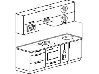 Планировка прямой кухни 5,0 м², 2000 мм: верхние модули 720 мм, встроенный духовой шкаф, корзина-бутылочница, верхний витринный модуль под свч
