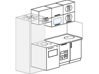 Прямая кухня 5,0 м² (2,0 м), верхние модули 72 см, посудомоечная машина, холодильник, отдельно стоящая плита