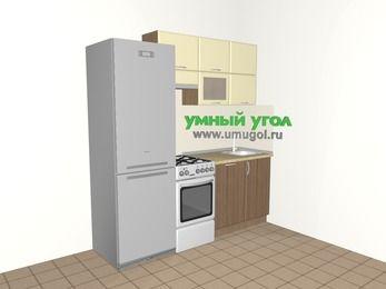 Прямая кухня МДФ матовый 5,0 м², 2000 мм, Ваниль / Лиственница бронзовая, верхние модули 720 мм, посудомоечная машина, холодильник, отдельно стоящая плита