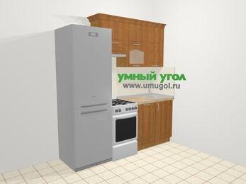 Прямая кухня МДФ матовый в классическом стиле 5,0 м², 200 см, Вишня, верхние модули 72 см, посудомоечная машина, холодильник, отдельно стоящая плита