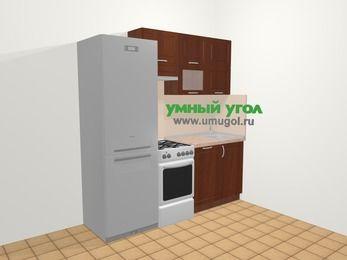 Прямая кухня МДФ матовый в классическом стиле 5,0 м², 200 см, Вишня темная, верхние модули 72 см, посудомоечная машина, холодильник, отдельно стоящая плита
