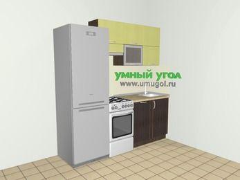 Кухни из пластика 5,0 м², 2000 мм, Желтый Галлион глянец / Дерево Мокка, верхние модули 720 мм, посудомоечная машина, холодильник, отдельно стоящая плита