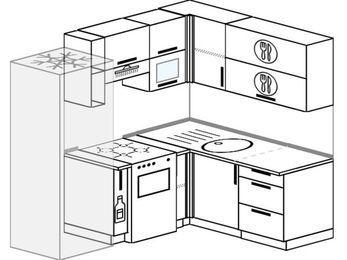Планировка угловой кухни 5,0 м², 200 на 160 см: верхние модули 72 см, холодильник, корзина-бутылочница, отдельно стоящая плита