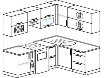 Планировка угловой кухни 5,0 м², 200 на 160 см: верхние модули 72 см, корзина-бутылочница, отдельно стоящая плита, верхний модуль под свч