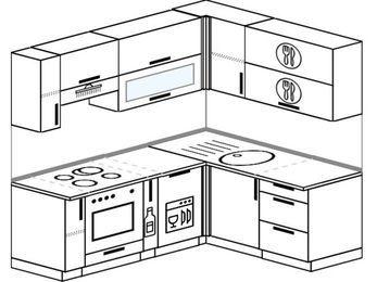Планировка угловой кухни 5,0 м², 2000 на 1600 мм: верхние модули 720 мм, встроенный духовой шкаф, корзина-бутылочница, посудомоечная машина