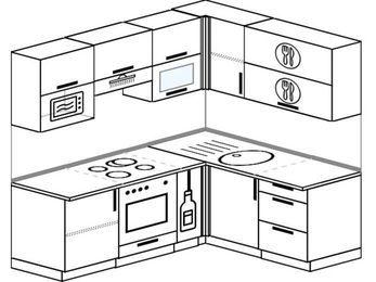 Планировка угловой кухни 5,0 м², 2000 на 1600 мм: верхние модули 720 мм, встроенный духовой шкаф, корзина-бутылочница, верхний витринный модуль под свч