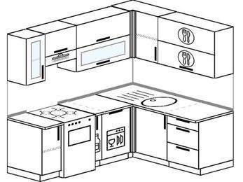 Планировка угловой кухни 5,0 м², 200 на 160 см: верхние модули 72 см, отдельно стоящая плита, корзина-бутылочница, посудомоечная машина