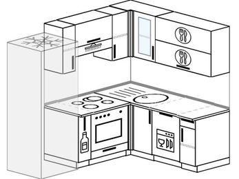 Планировка угловой кухни 5,0 м², 200 на 160 см: верхние модули 72 см, холодильник, корзина-бутылочница, встроенный духовой шкаф, посудомоечная машина