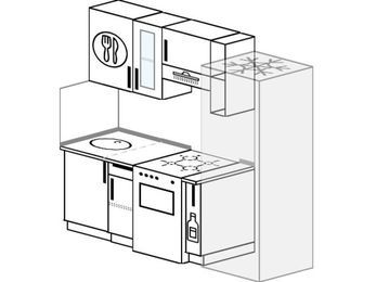 Планировка прямой кухни 5,0 м², 200 см (зеркальный проект): верхние модули 72 см, отдельно стоящая плита, корзина-бутылочница, холодильник