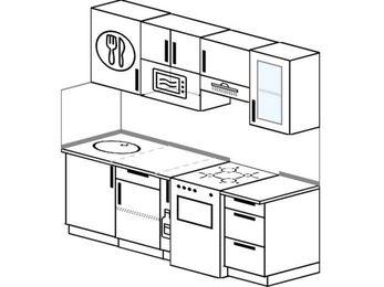 Прямая кухня 5,0 м² (2,0 м), верхние модули 72 см, модуль под свч, отдельно стоящая плита