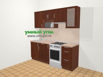 Прямая кухня МДФ матовый в классическом стиле 5,0 м², 200 см (зеркальный проект), Вишня темная, верхние модули 72 см, модуль под свч, отдельно стоящая плита