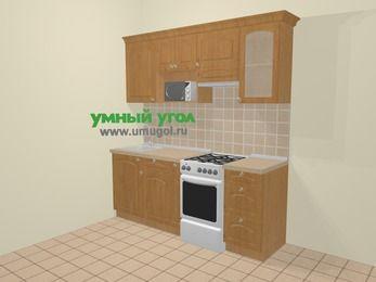 Прямая кухня МДФ матовый в стиле кантри 5,0 м², 200 см (зеркальный проект), Ольха, верхние модули 72 см, модуль под свч, отдельно стоящая плита