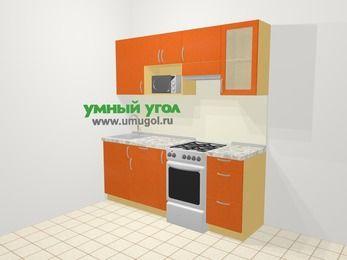 Прямая кухня МДФ металлик в современном стиле 5,0 м², 200 см (зеркальный проект), Оранжевый металлик, верхние модули 72 см, модуль под свч, отдельно стоящая плита