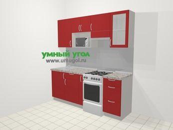 Прямая кухня МДФ глянец в современном стиле 5,0 м², 200 см (зеркальный проект), Красный, верхние модули 72 см, модуль под свч, отдельно стоящая плита