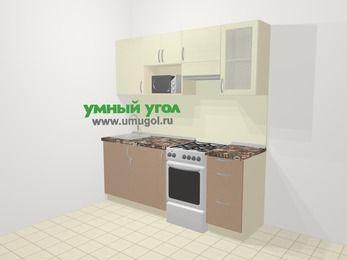Прямая кухня МДФ глянец в современном стиле 5,0 м², 200 см (зеркальный проект), Жасмин / Капучино, верхние модули 72 см, модуль под свч, отдельно стоящая плита