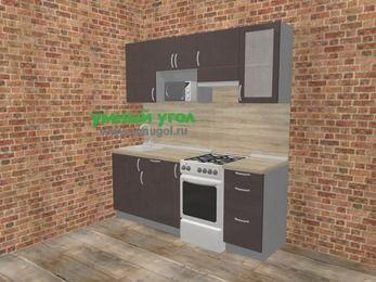 Прямая кухня МДФ глянец в стиле лофт 5,0 м², 200 см (зеркальный проект), Шоколад, верхние модули 72 см, модуль под свч, отдельно стоящая плита