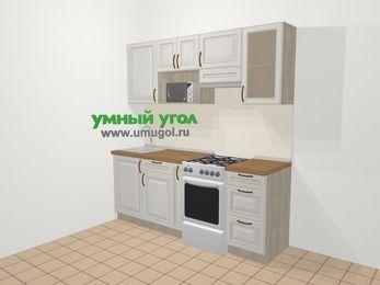 Прямая кухня МДФ патина в классическом стиле 5,0 м², 200 см (зеркальный проект), Лиственница белая, верхние модули 72 см, модуль под свч, отдельно стоящая плита