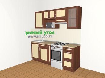 Прямая кухня из рамочного МДФ 5,0 м², 2000 мм (зеркальный проект), Вишня темная / Крем, верхние модули 720 мм, модуль под свч, отдельно стоящая плита