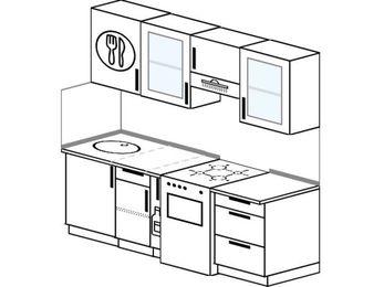 Прямая кухня 5,0 м² (2,0 м), верхние модули 720 мм, отдельно стоящая плита
