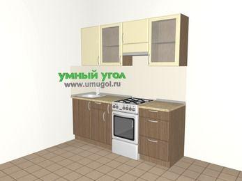 Прямая кухня МДФ матовый 5,0 м², 2000 мм (зеркальный проект), Ваниль / Лиственница бронзовая, верхние модули 720 мм, отдельно стоящая плита