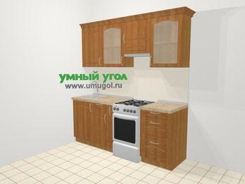 Прямая кухня МДФ матовый в классическом стиле 5,0 м², 200 см (зеркальный проект), Вишня, верхние модули 72 см, отдельно стоящая плита