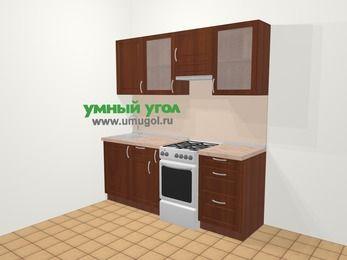 Прямая кухня МДФ матовый в классическом стиле 5,0 м², 200 см (зеркальный проект), Вишня темная, верхние модули 72 см, отдельно стоящая плита
