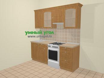 Прямая кухня МДФ матовый в стиле кантри 5,0 м², 200 см (зеркальный проект), Ольха, верхние модули 72 см, отдельно стоящая плита