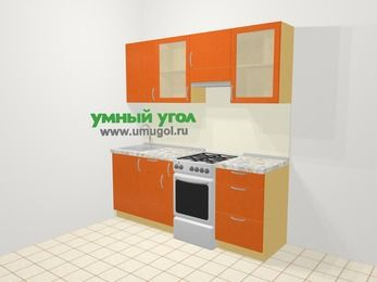 Прямая кухня МДФ металлик в современном стиле 5,0 м², 200 см (зеркальный проект), Оранжевый металлик, верхние модули 72 см, отдельно стоящая плита