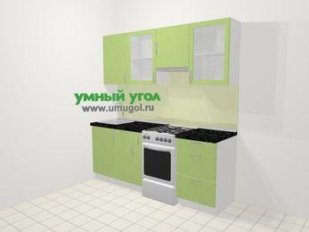 Прямая кухня МДФ металлик в современном стиле 5,0 м², 200 см (зеркальный проект), Салатовый металлик, верхние модули 72 см, отдельно стоящая плита
