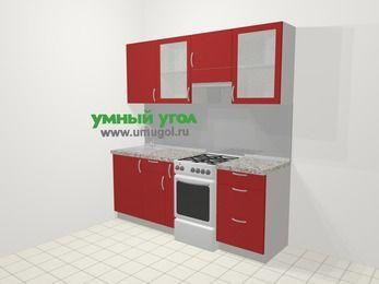 Прямая кухня МДФ глянец в современном стиле 5,0 м², 200 см (зеркальный проект), Красный, верхние модули 72 см, отдельно стоящая плита