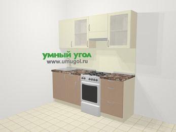 Прямая кухня МДФ глянец в современном стиле 5,0 м², 200 см (зеркальный проект), Жасмин / Капучино, верхние модули 72 см, отдельно стоящая плита